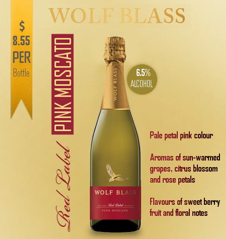 Wolf Blass Red Label Pink Moscato NV South Eastern Australia
